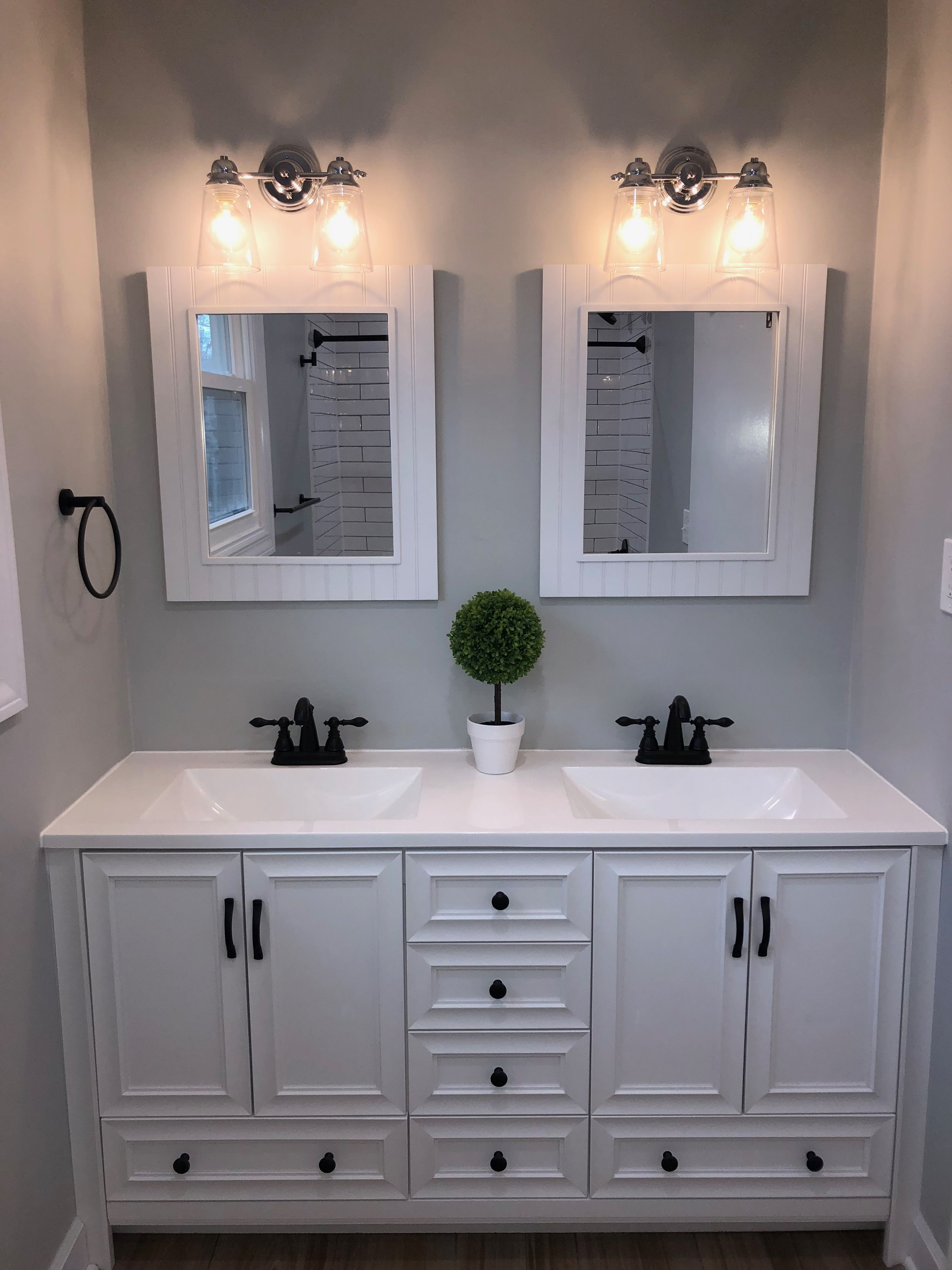 White Vanity And Black Fixtures Homedepot Vanity Bed Bath And
