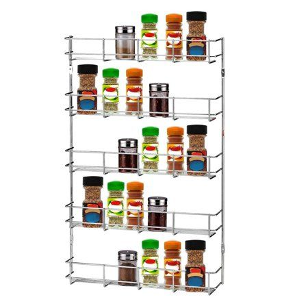 Removable Five Tier Wall Mount Metal Kitchen Storage Rack Sy Hanging Organizer E Pantry Can Shelving Silver