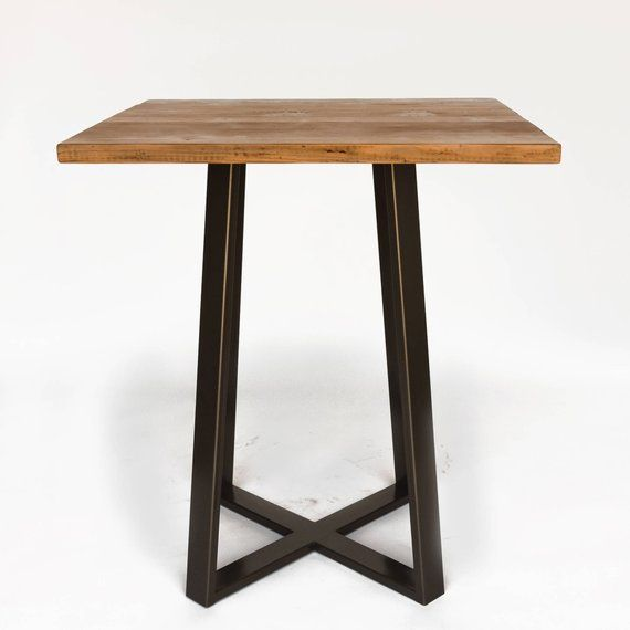 High Top Restaurant Furniture Square Table Pedestal With Reclaimed Wood Choice Of