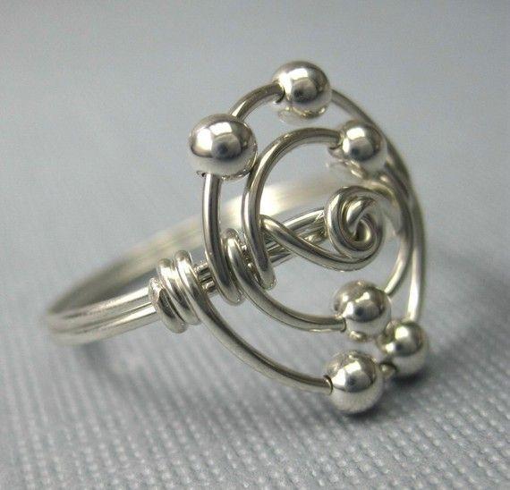 Personalisierte Atomic Elements Ring Kohlenstoffatom Ring Draht gewickelt Sterling Silber Wissenschaft Schmuck   – art objects