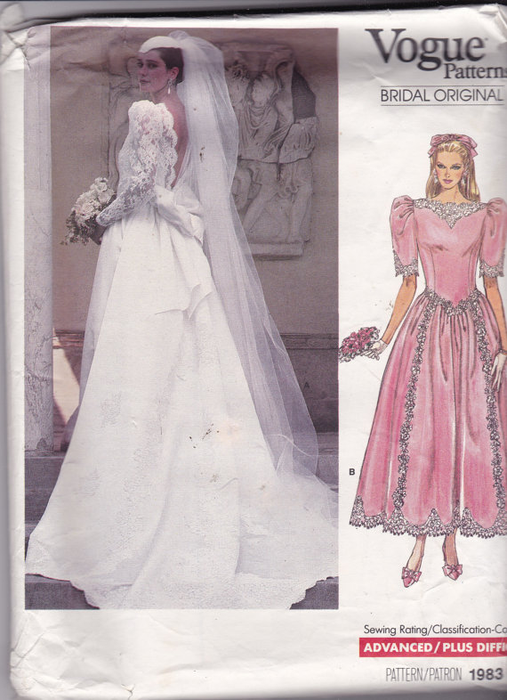 Vogue 1983 Vintage Pattern Wedding Dress or Bridesmaid Dress Size 10 ...