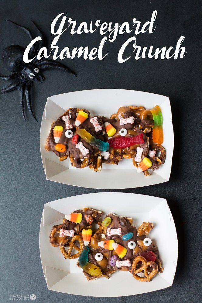 Graveyard Caramel Crunch Recipe Easy halloween treats - cute easy halloween treat ideas