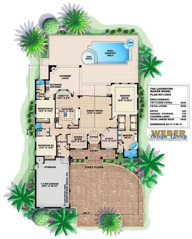 Southern Country House Plan 1 Story Open Layout Outdoor Kitchen Pool Mediterranean Style House Plans Florida House Plans House Plans