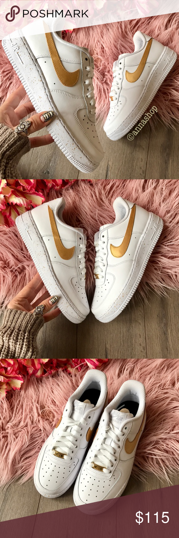 separation shoes f7ee3 e3790 NWT Nike ID Air Force 1 gold Oreo Brand new no box price is firm!