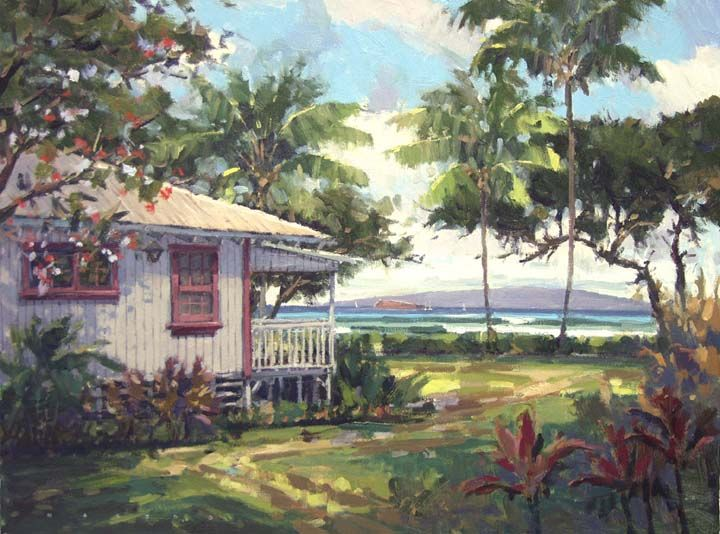 Makena Beach Cottage Maui By Artist Ronaldo Macedo Size 18x24 For Availability Visit