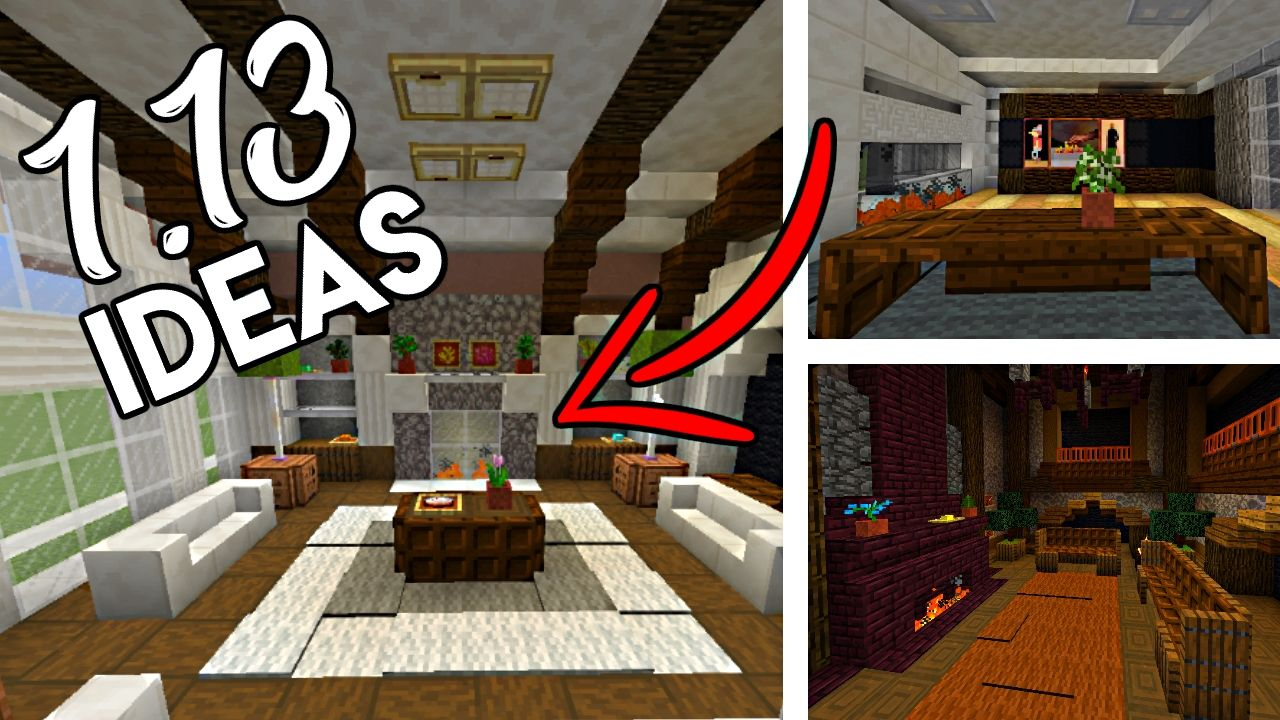 Minecraft 1 13 Building Ideas Furniture Interiors Fireplaces And More Interior Minecraft Designs House Blueprints