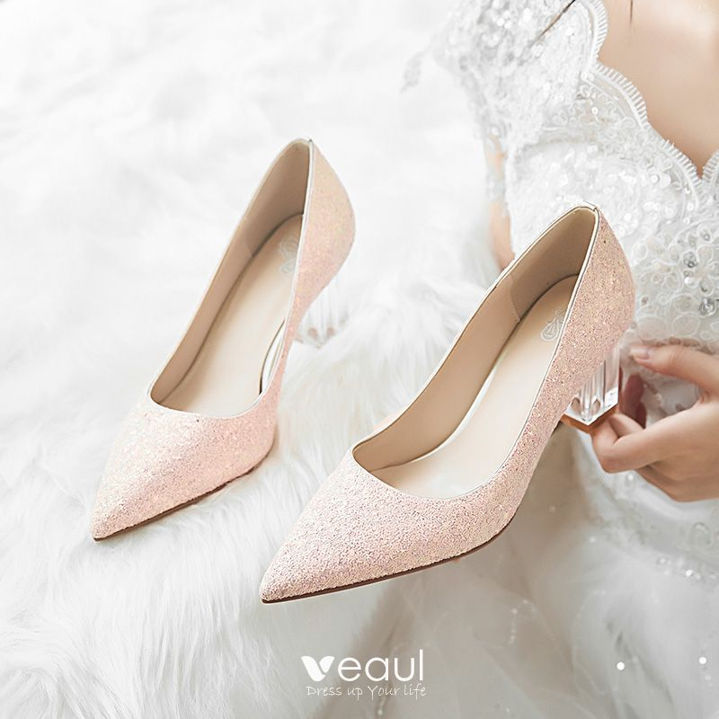 Sparkly Candy Pink Glitter Wedding Shoes 2020 Sequins 7 Cm Thick Heels Pointed Toe Wedding Pumps Glitter Wedding Shoes Bridal Shoes Bohemian Style Gown