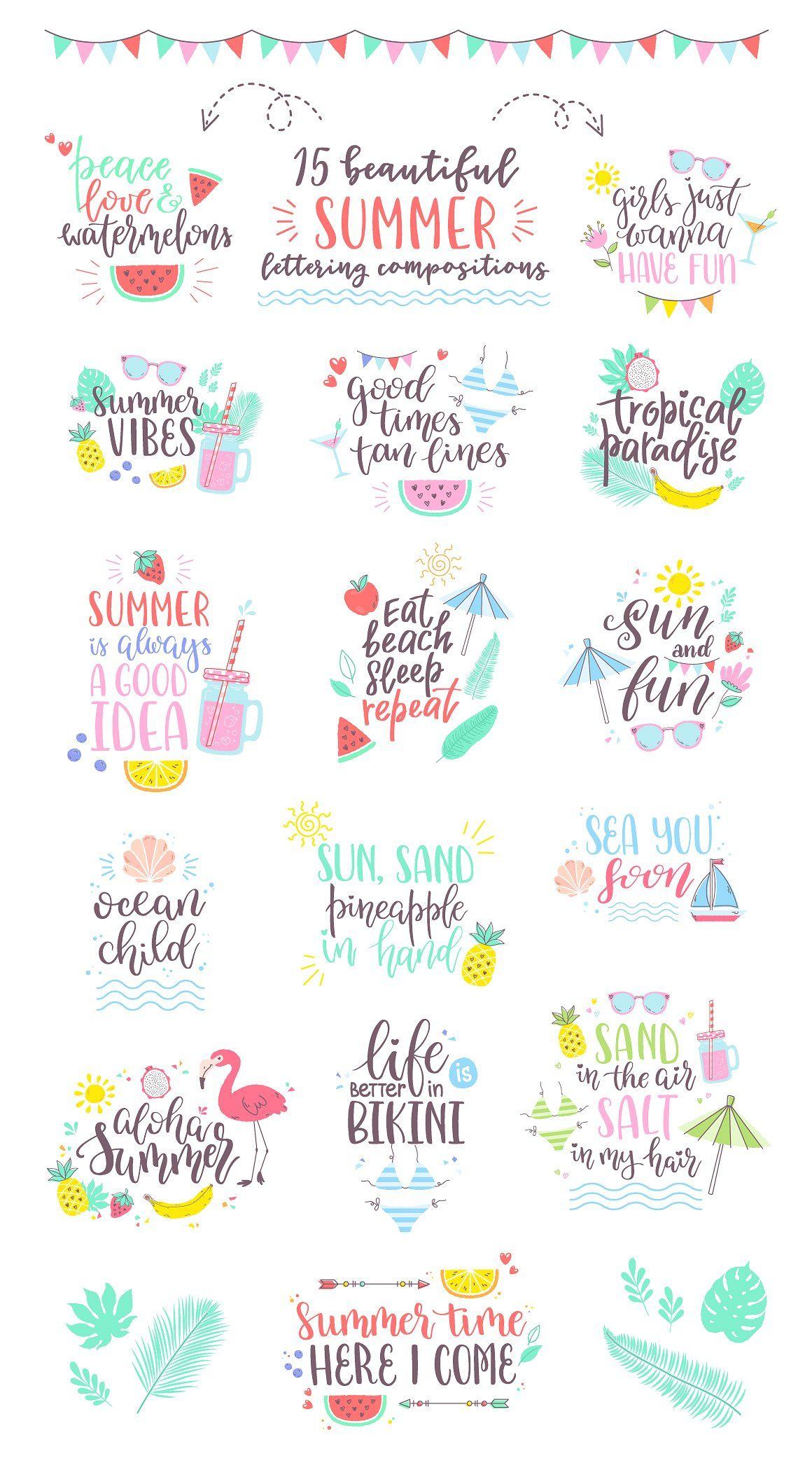 Summer Vibes Design Pack Hand Lettering Summer Vibes Friends Vibes