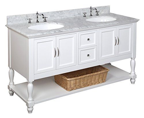 Beverly 60 Inch Double Bathroom Vanity Carrara White Includes