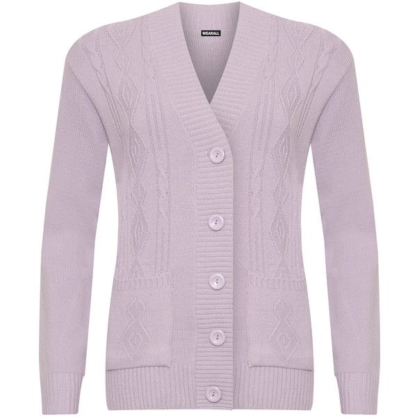 Dominga Knitted Button Cardigan (880 THB) ❤ liked on Polyvore featuring plus size women's fashion, plus size clothing, plus size tops, plus size cardigans, lilac, lilac top, button cardigan, purple cardigan, lilac cardigan and purple top