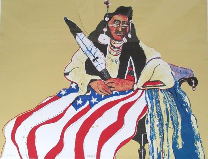 """Fritz Scholder """"Bicentennial Indian"""" Lithograph H:22 x W:30"""
