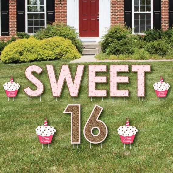 Sweet 16 Yard Sign Outdoor Lawn Decoration Girl 16th Etsy Happy Birthday Yard Signs Birthday Yard Signs Birthday Lawn Signs