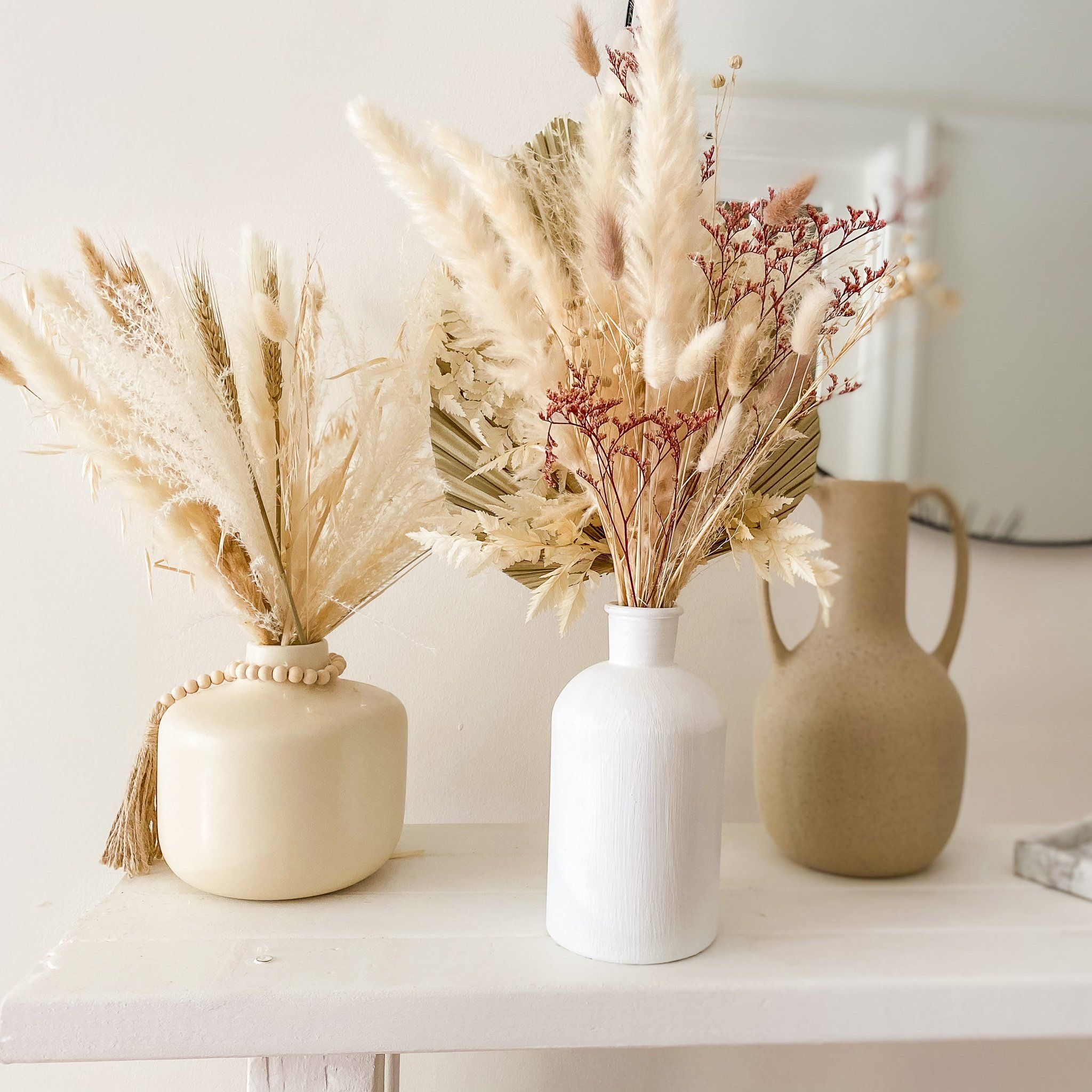 Photo of Naturally Dried Pampas Grass and Palm Bouquet for Home Decor and Wedding Decoration (Pink and White)
