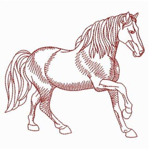 Redwork Horses Embroidery Design