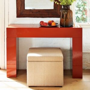 A chunky console table in orange is 299 at West Elm Whole House