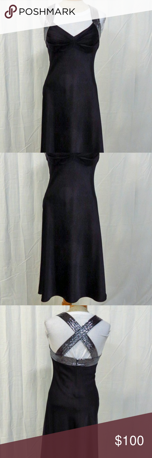 Calvin Klein Silver Sequins Black Dress Size 6   Black formal gown ...