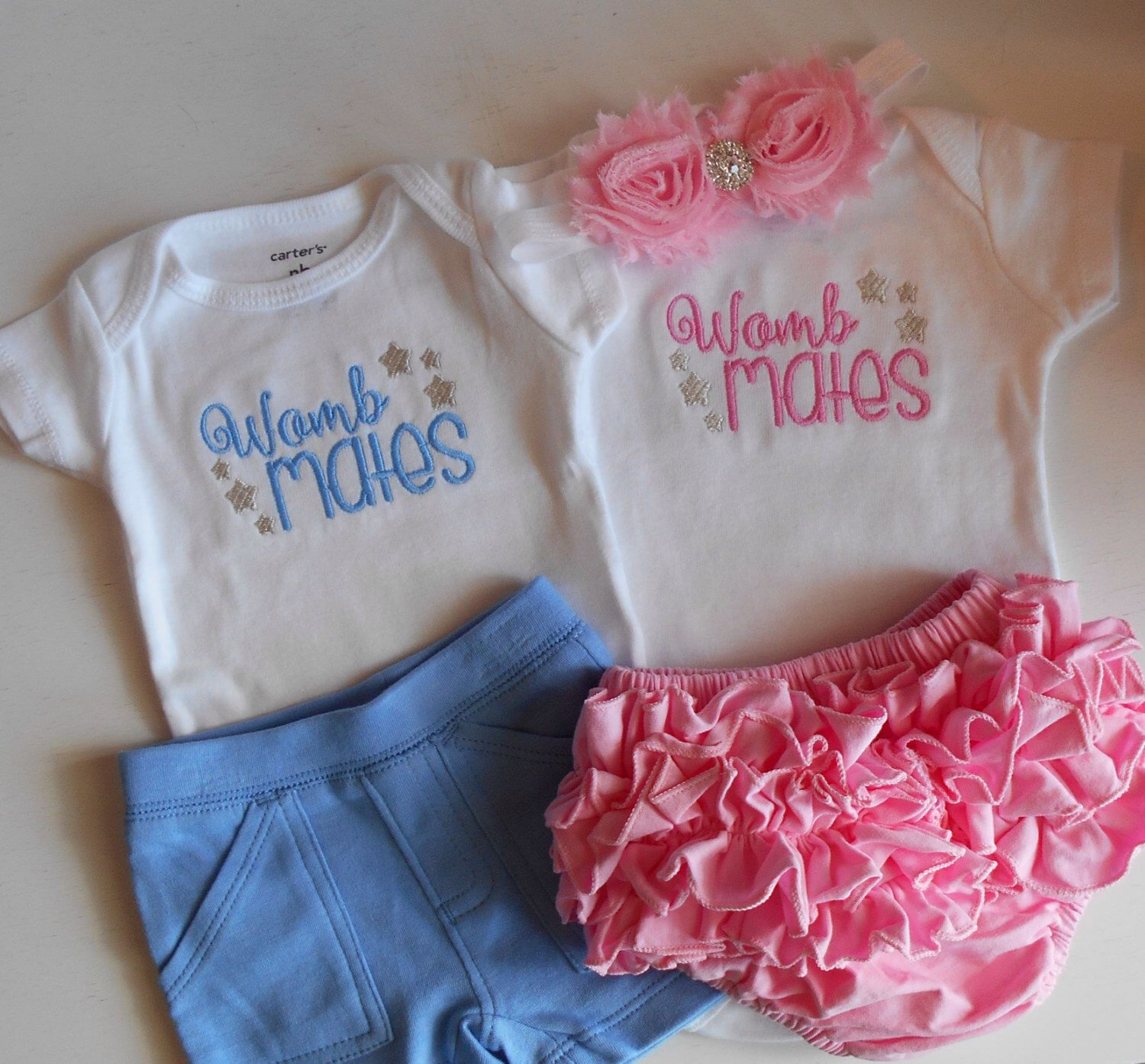 94c3cc63b30f Items similar to Twins Womb Mates Newborn baby take home outfit gender  reveal bodysuit pants headband pink blue baby girl boy outfit bring home  coming home ...