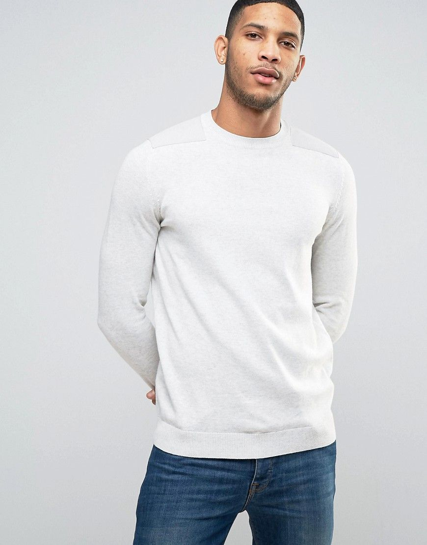 New look sweater with patch detail in oatmeal cream oatmeal and