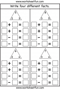 Fact Family – Complete each fact family – 4 Worksheets | Math Fact ...