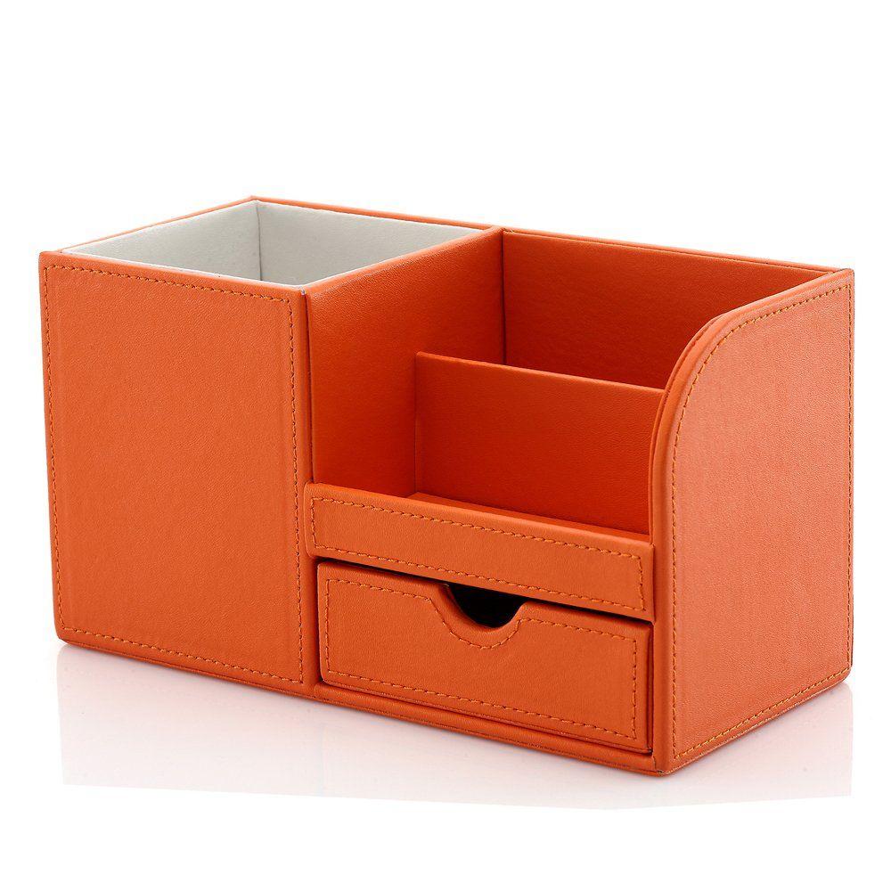 Amazon Com Kingfom Wooden Struction Leather Multi Function Desk Stationery Orga Organizador Para Escritorio Organizacion Escritorio Manualidades Organizador