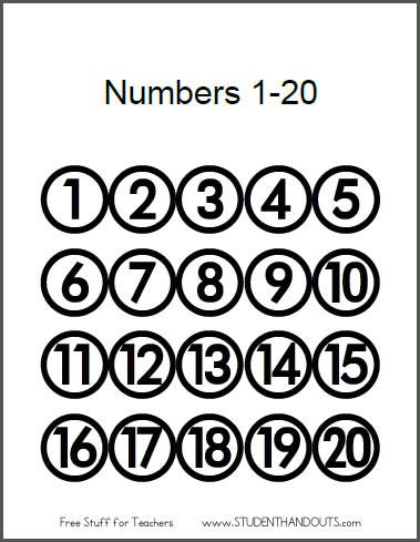 Printable Sheet with Numbers 1-20 for Classroom