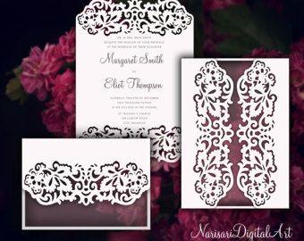 Laser Cut Wedding Invitation Templates Card  Narisaridigitalart