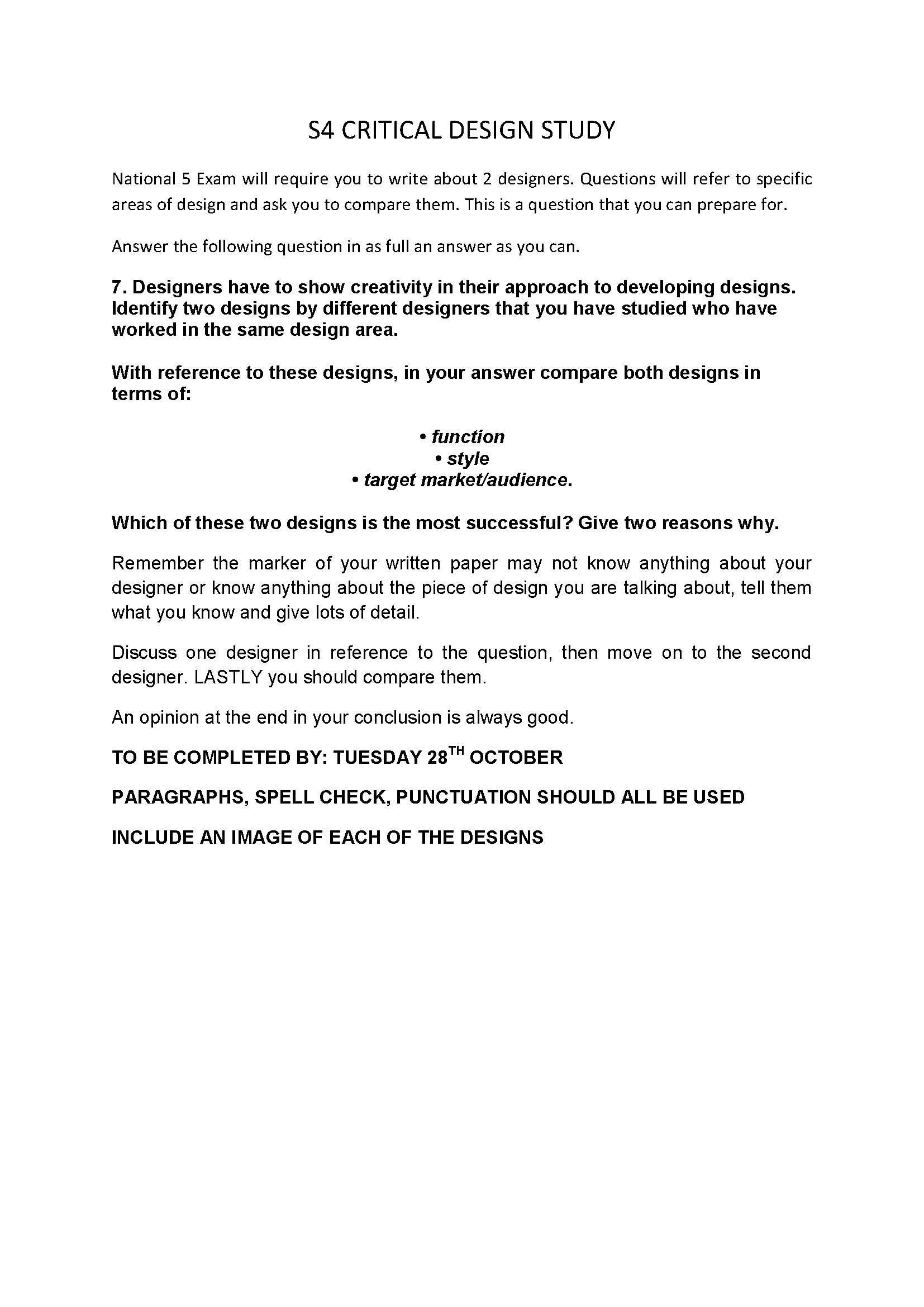 Critical Design Homework Due 28th October