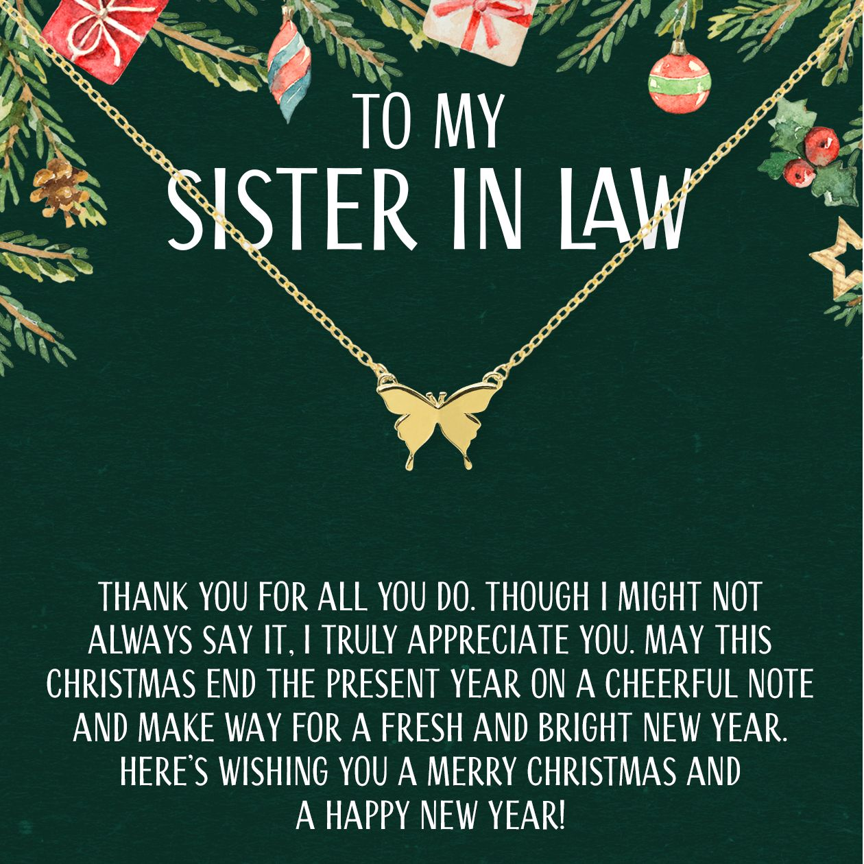 Christmas Gift For Sister In Law Butterfly Pendant Necklace Sister In Law Gifts Christmas Gifts For Sister In Law Christmas Gifts