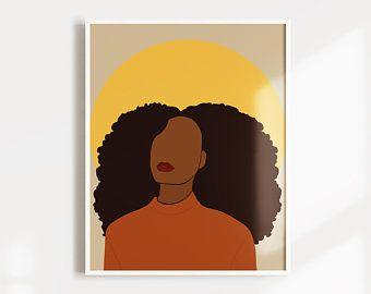 African-American Woman art 1 Melanin Art Beauty Woman | Etsy