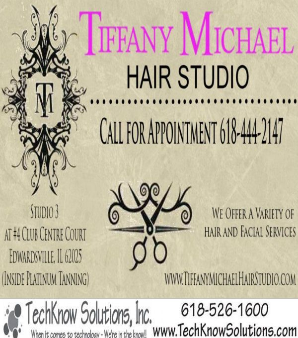Front of Business Card for Tiffany Michael Hair Studio #techknowsolutions