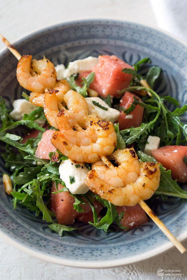 Wassermelonen-Salat mit Rucola & Garnelen - Madame Cuisine