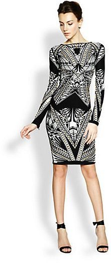 Herve Leger Jacquard Embellished Dress