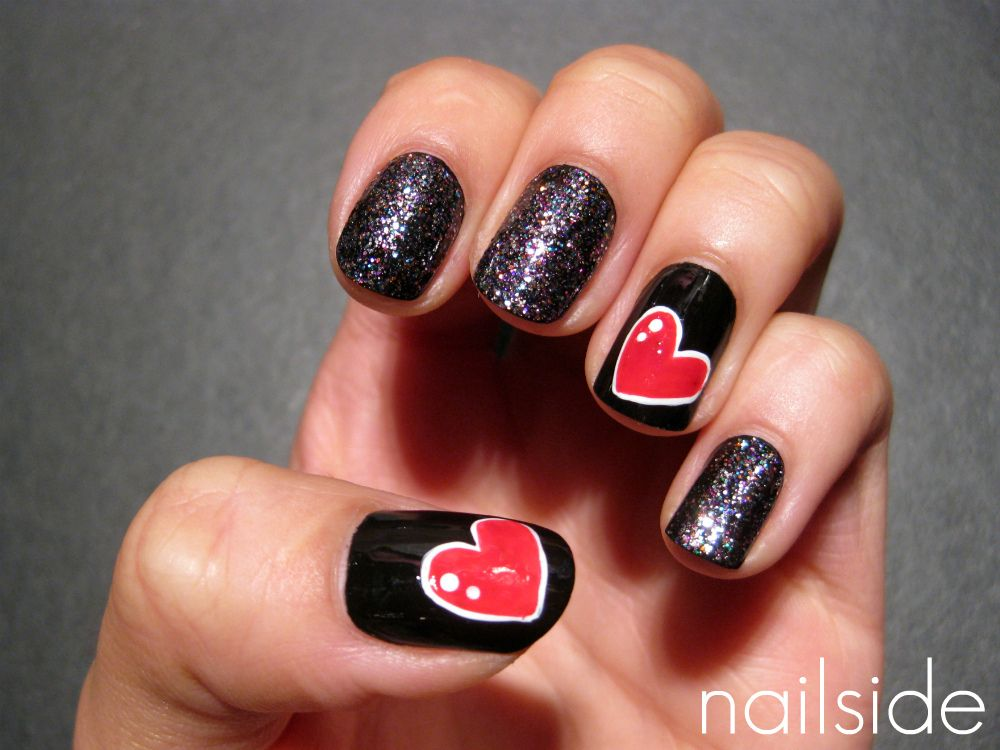 OPI ~ Mad As A Hatter + the hearts are freehanded and you can find a ...