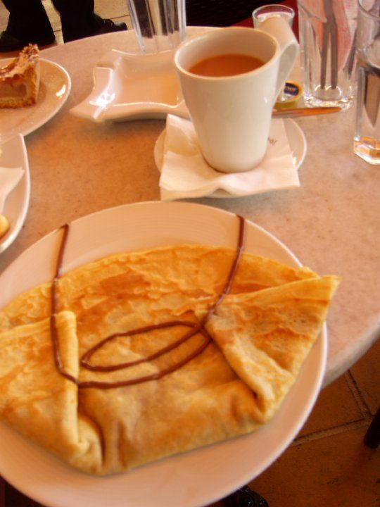 Greek Crepe and Coffee at a little street cafe on a Greek Isle
