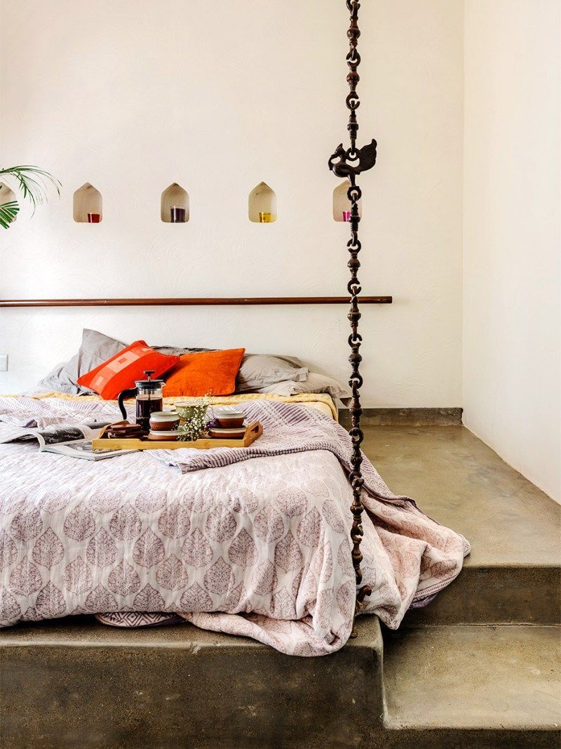 Inside A Colorful Ahmedabad Apartment That Takes Its Cues From Nature In 2020 Small Bedroom Decor Bedroom Decor Inspiration One Bedroom Apartment