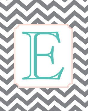 Monogram Letter Art  Turquoise and Coral  8x10 Art by Freshline, $20.00