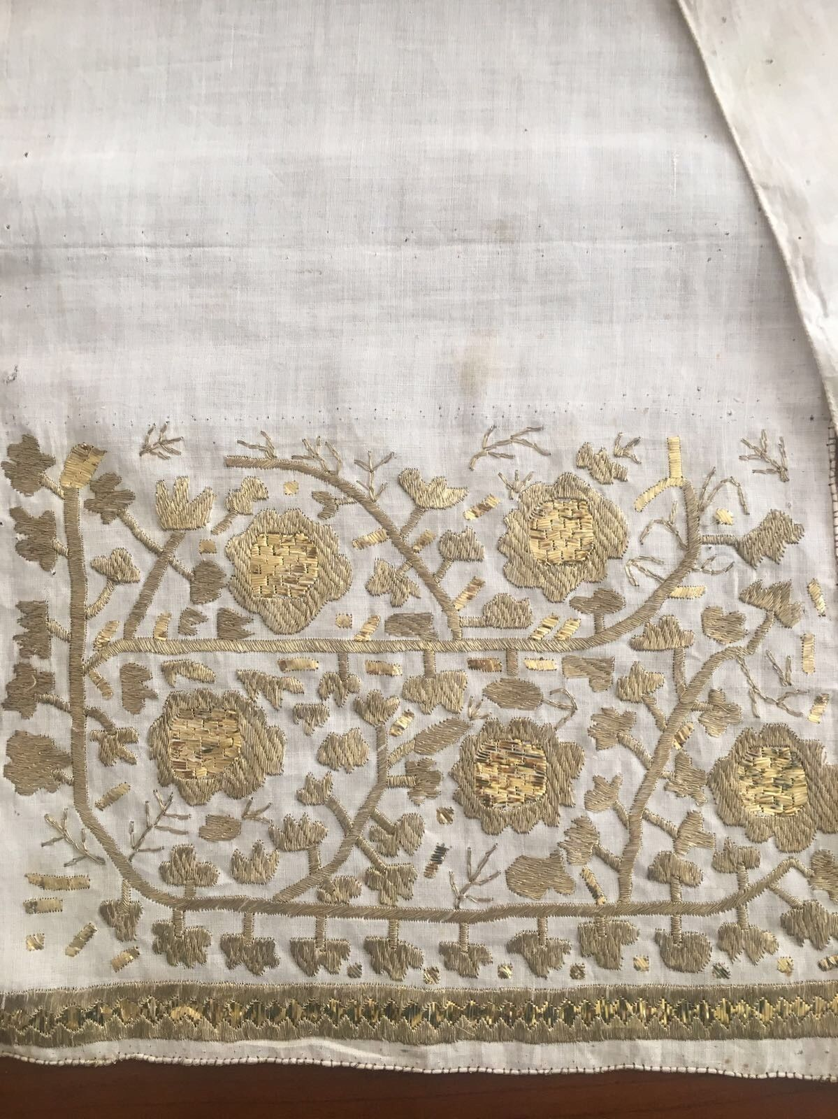 19th Antique Ottoman Turkish Gold Metallic Hand Embroidery On Fine