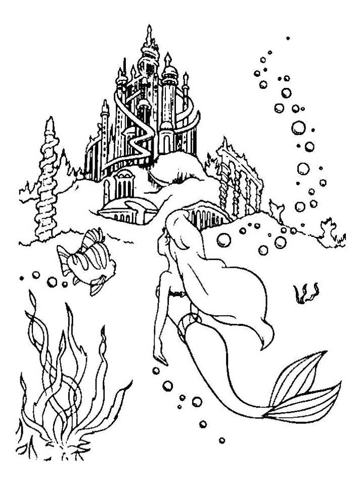 Flounder And Ariel Finding Palace Under The Sea Coloring Pages Mermaid Coloring Pages Mermaid Coloring Ariel Coloring Pages