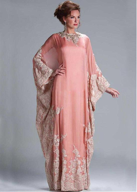 Elegant Dubai Chiffon Jewel Neckline Sheath Kaftan Evening Dresses ...