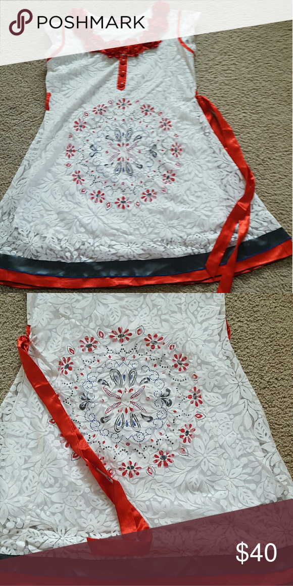 frock beautiful red flowers on neck design ,brasho matrial with beautiful frontand back circle design and blackand red border wow  Other