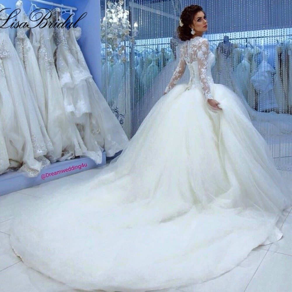 Fall Winter Muslim Long Sleeve Cinderella Wedding Dress Princess