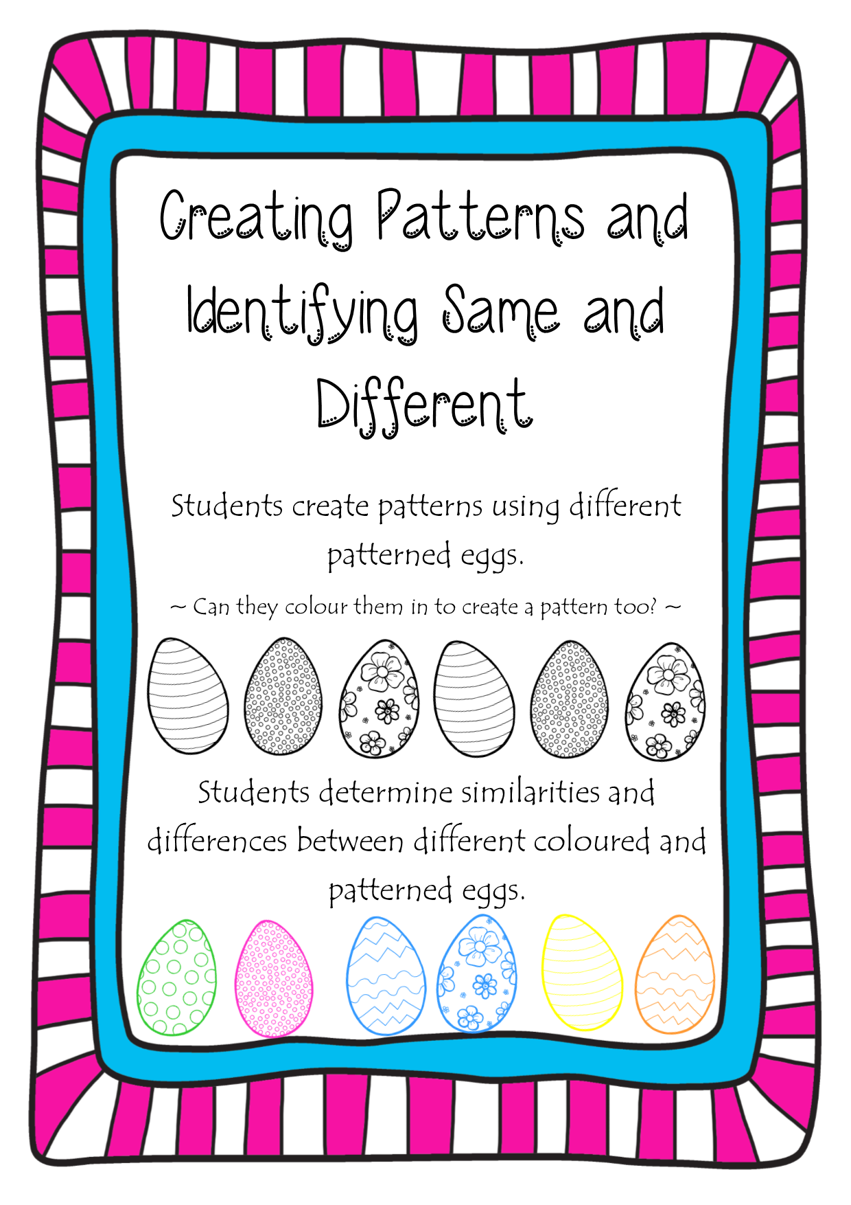 Easter Create Patterns Same And Different Assessment