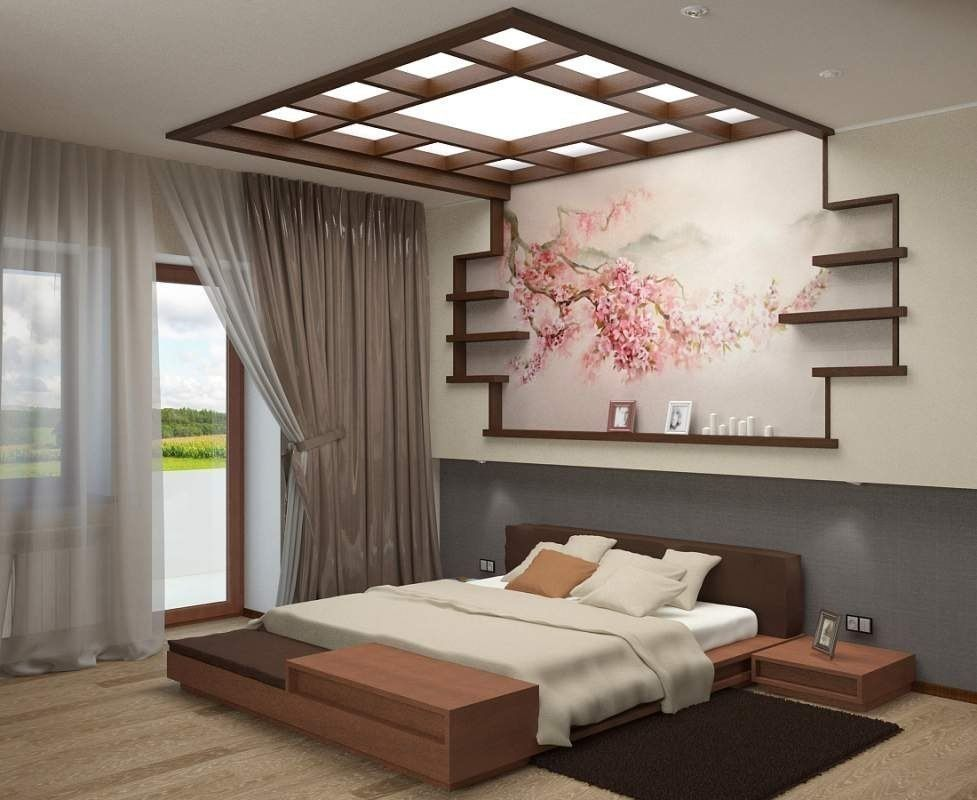 Japanese Style Bedroom. We could totally build that out of shelves above the headboard!