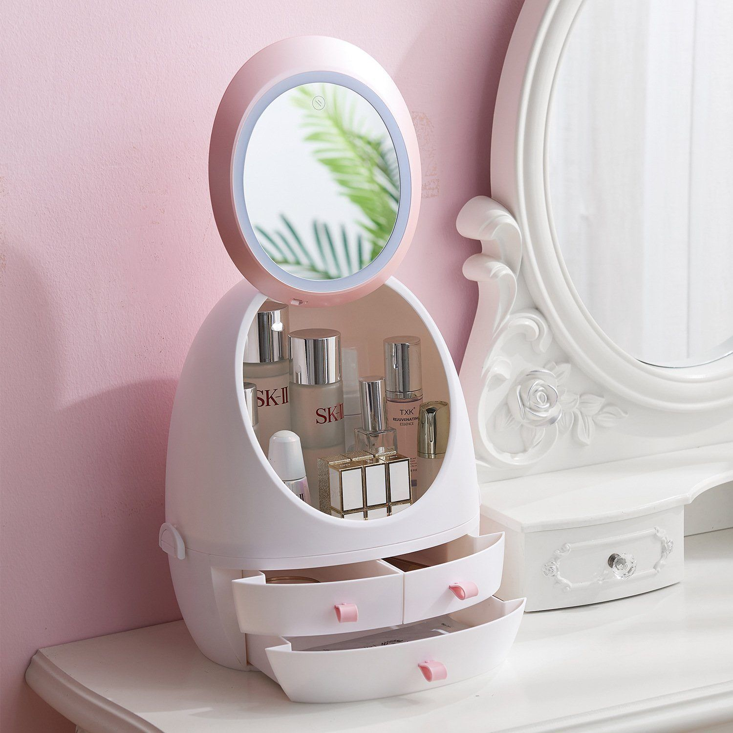 Led Hd Mirror Makeup Storage Box Cosmetic Organizer Case In 2020