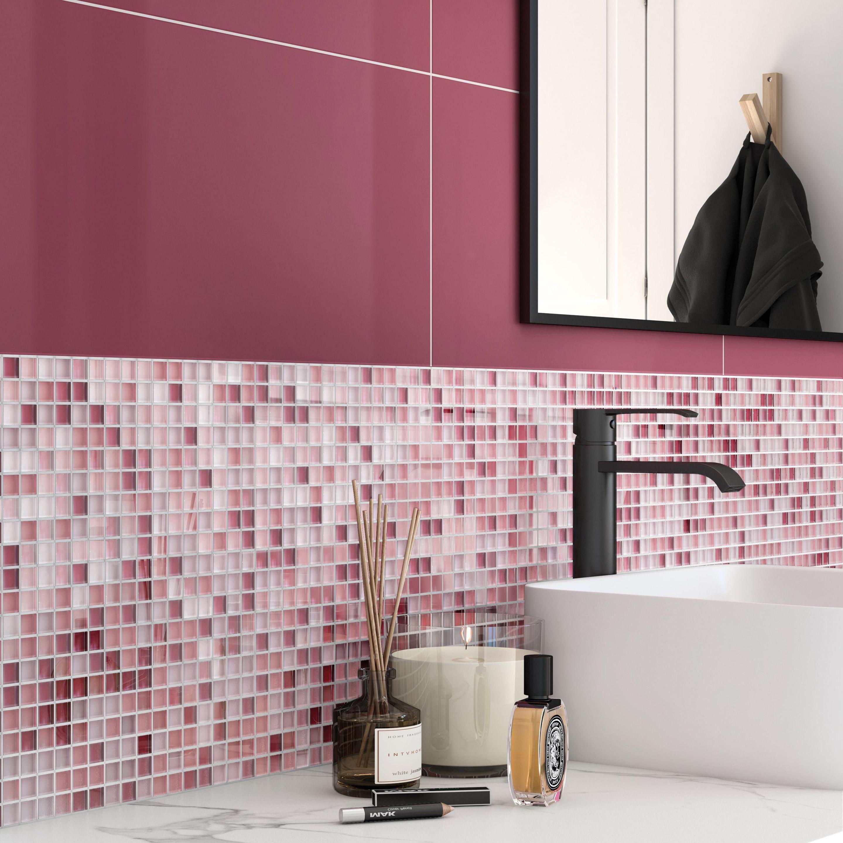 Carrelage Mur Prune Brillante L 25 X L 50 Cm Tonic Artens Murs