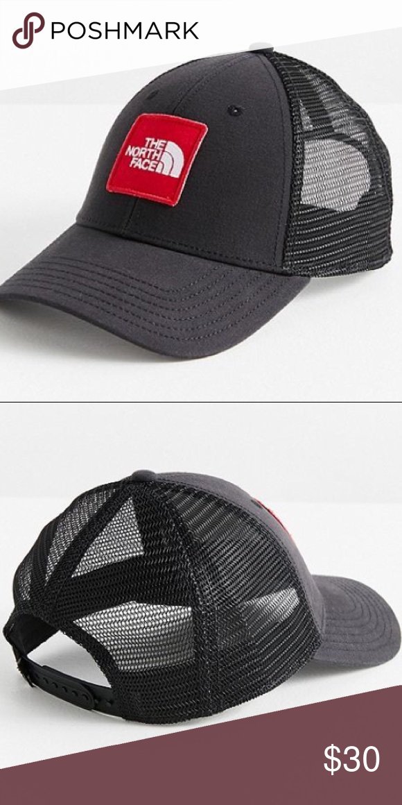 North Face Trucker Hat  Embroidered Logo Patch at Front  Slightly Curved  Brim  Stitched Grommets  Breathable Mesh Paneling  Adjustable SnapBack  Closure ... 8d675fb6cf4