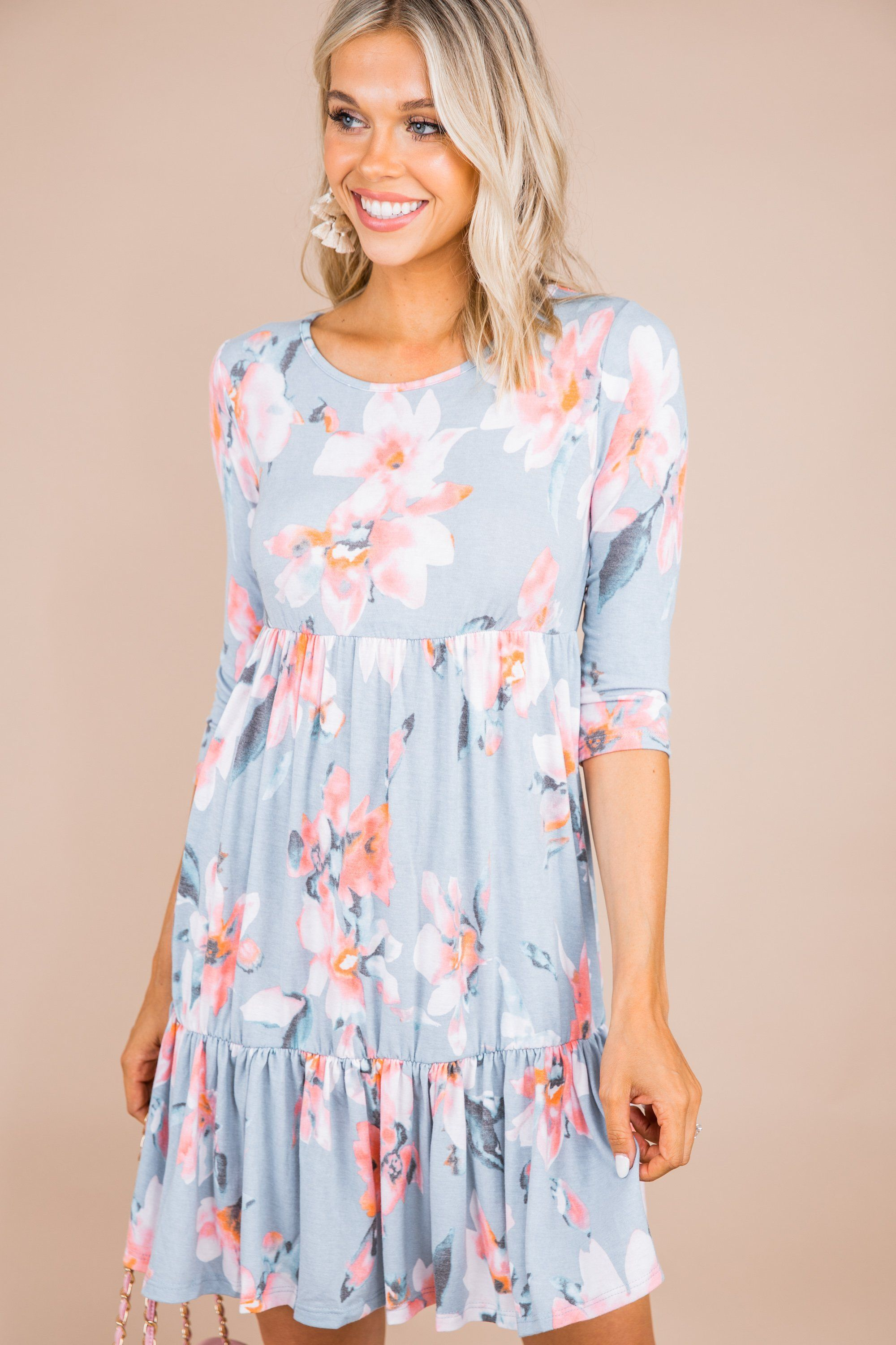 What A Lovely Life Blue 1 2 Sleeve Dress Blue Babydoll Dress Babydoll Dress Dresses [ 3000 x 2000 Pixel ]