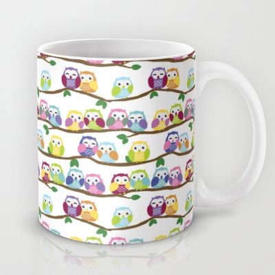 Colorful Owls On Branches Mug by Veronica Guzzardi