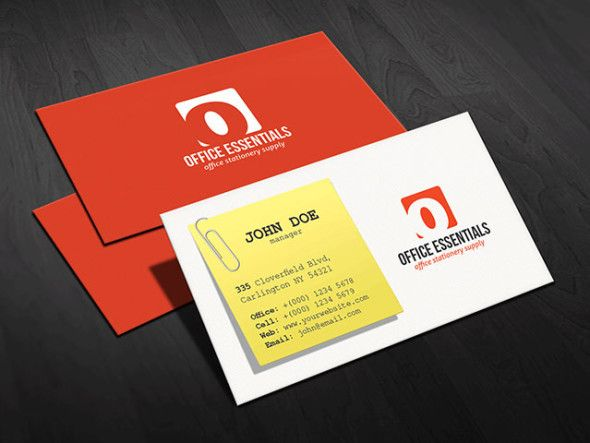 Pin by free business card templates on free business card templates creative business card design for stationery office supplies business design features a post it or sticky note which looks absolutely modern unique wajeb Gallery