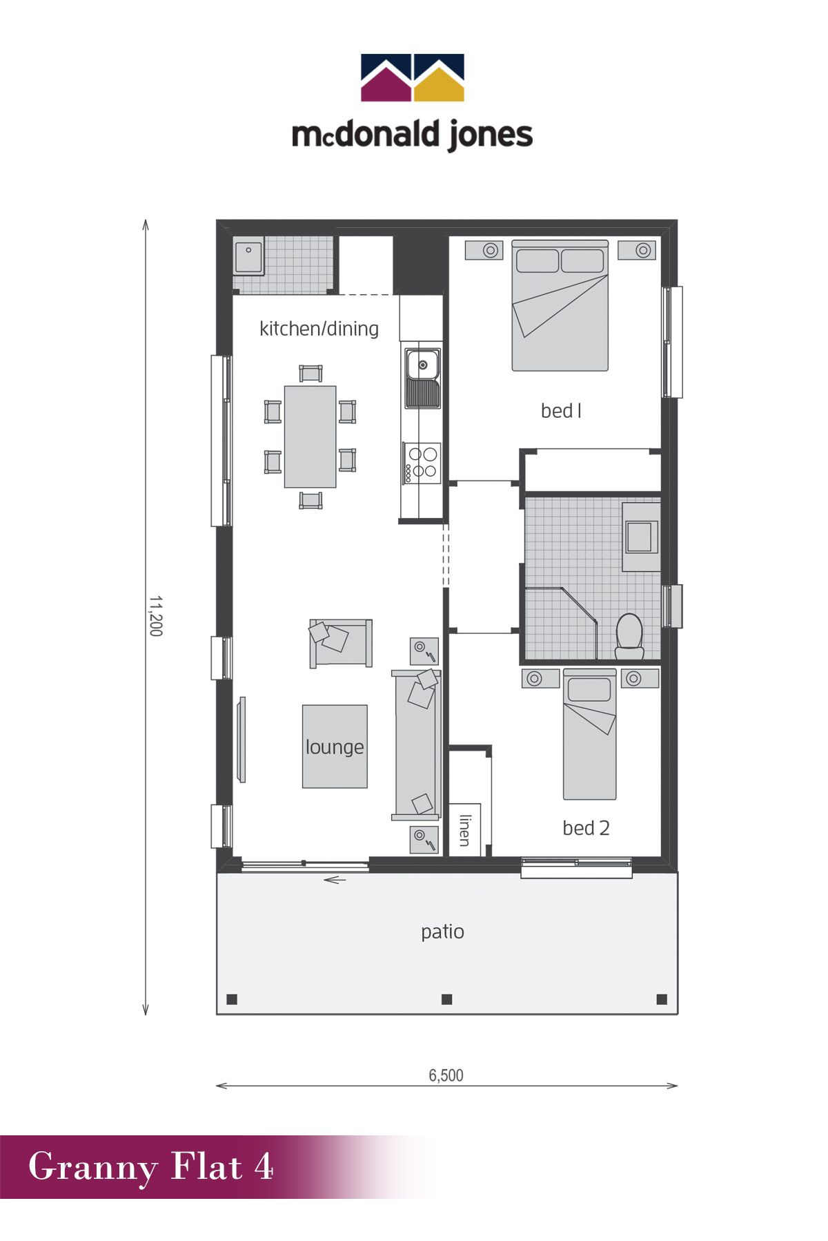 Granny Flat 4 Floor Plan by McDonald Jones Doubling up